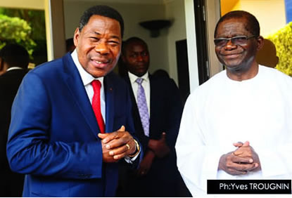 Boni Yayi (à droite) et Bruno Amoussou (à gauche) source: www.gouv.bj