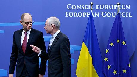 Le nouveau premier ministre ukrainien et le Président de l'Union Européenne..