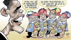 Caricature sur la démocratie en Afrique, Source: La Revue de Lanack