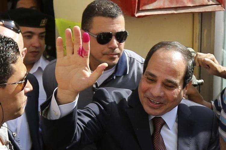 Abdel Fattah al-Sissi après avoir voté au Caire lundi. (Photo Amr Dalsh. Reuters), Source: Libération