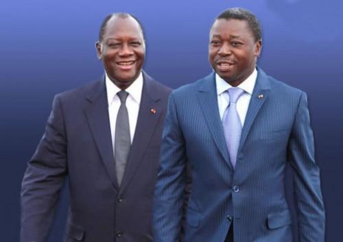 Les Présidents Alassane Ouattara de la Côte d'Ivoire et Faure Gnassingbé du Togo
